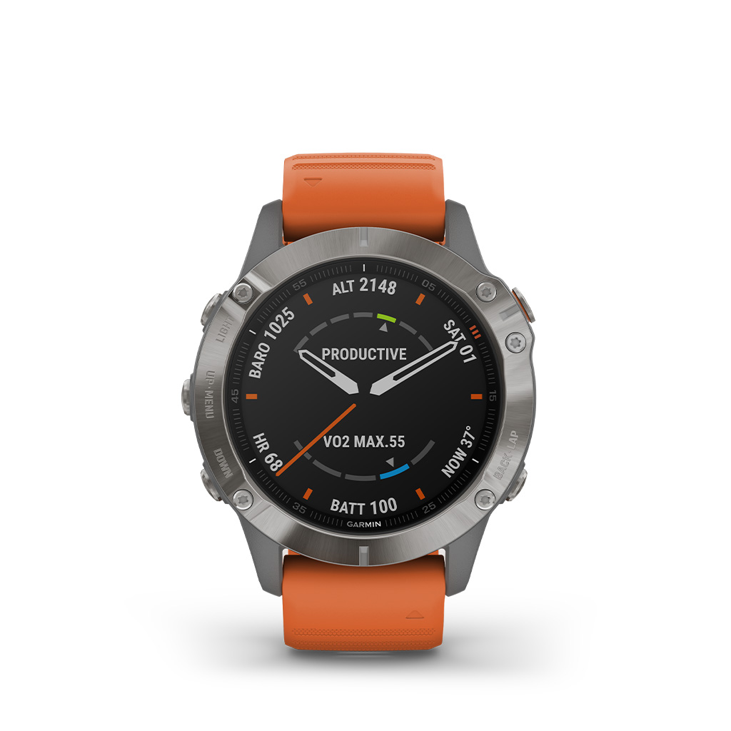 Garmin Fenix 6 Sapphire Titanium 47mm Ember Orange Band