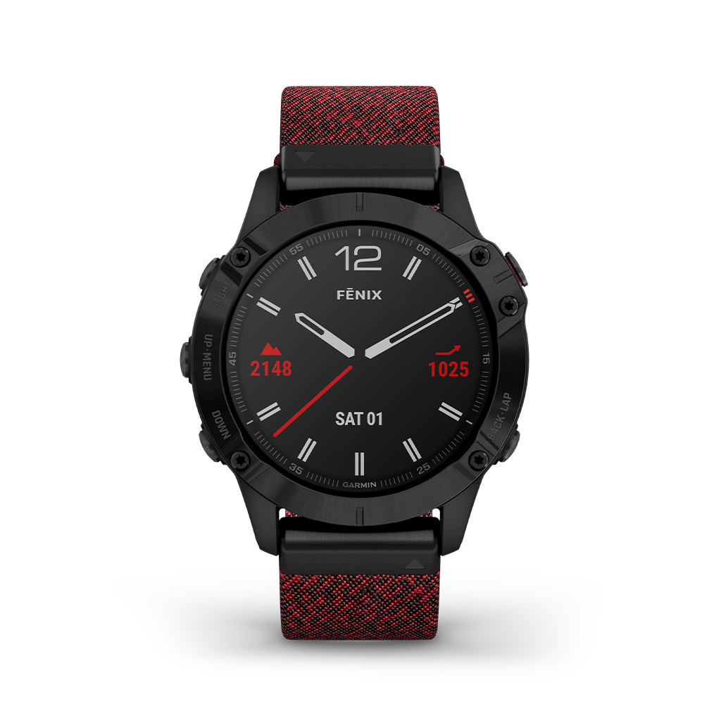 Garmin Fenix 6 Sapphire 47mm Red Nylon Band