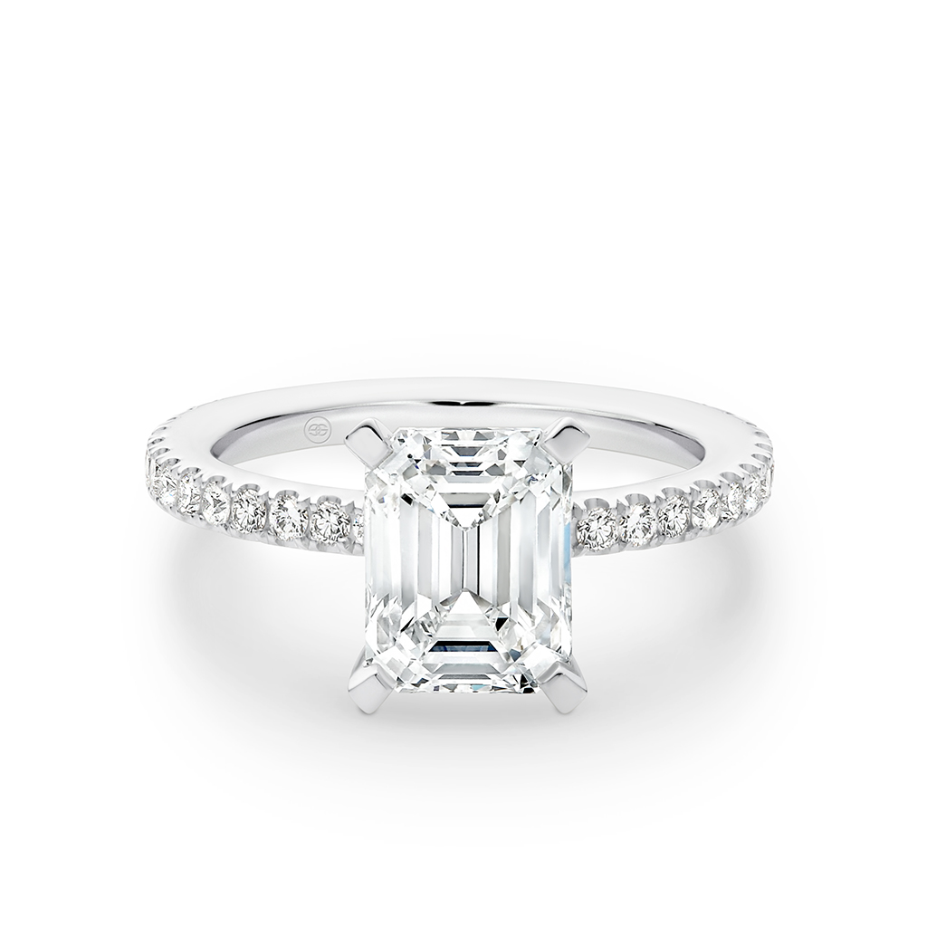 Emerald Cut Diamond Band Engagement Ring