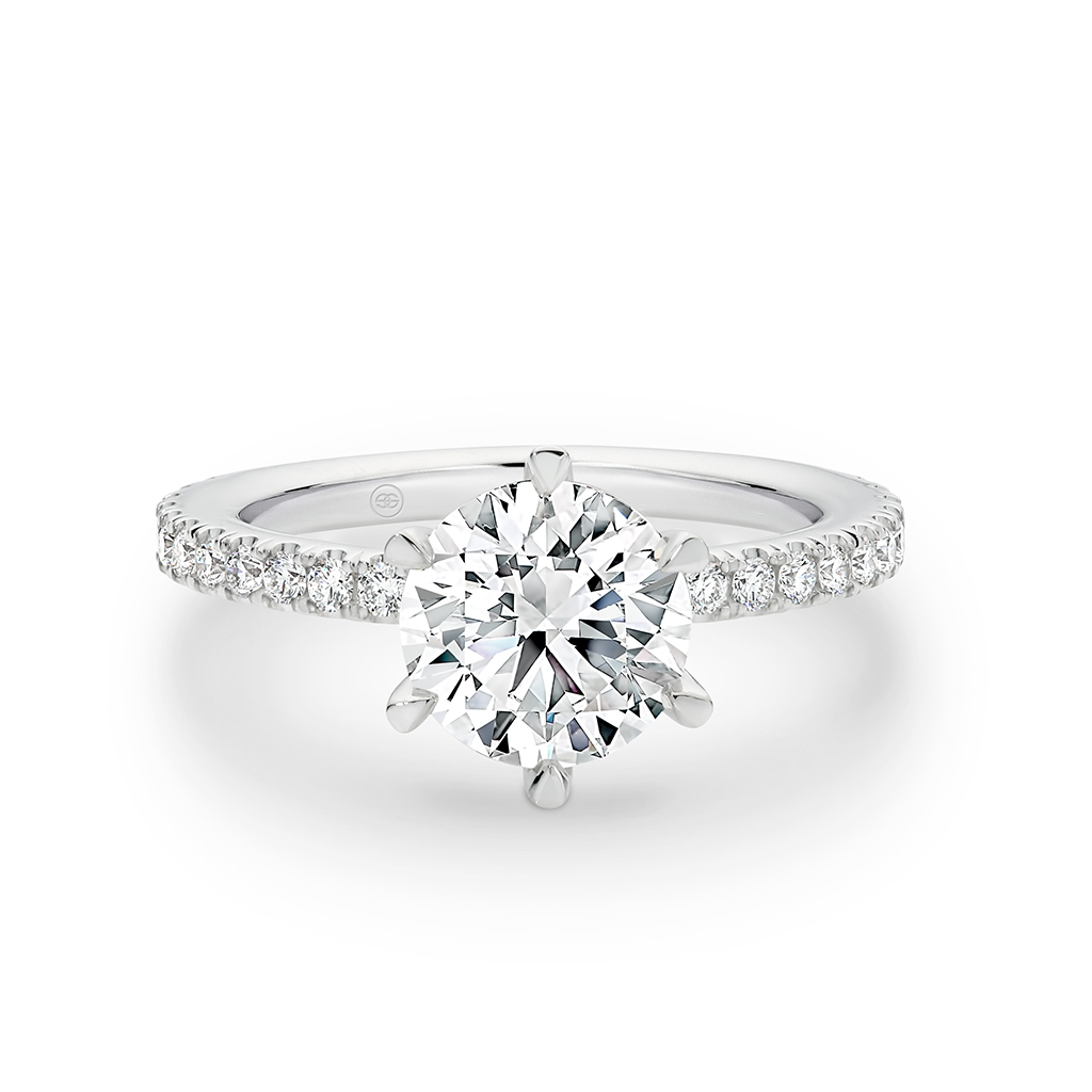 Round Brilliant Diamond Band Engagement Ring