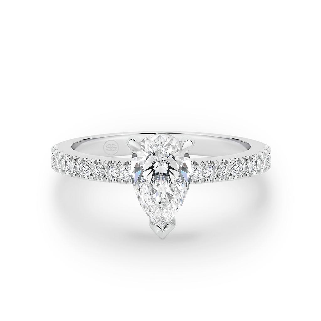 Pear Shape Diamond Band Engagement Ring