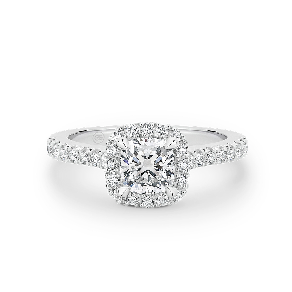 Cushion Cut Halo Diamond Engagement Ring