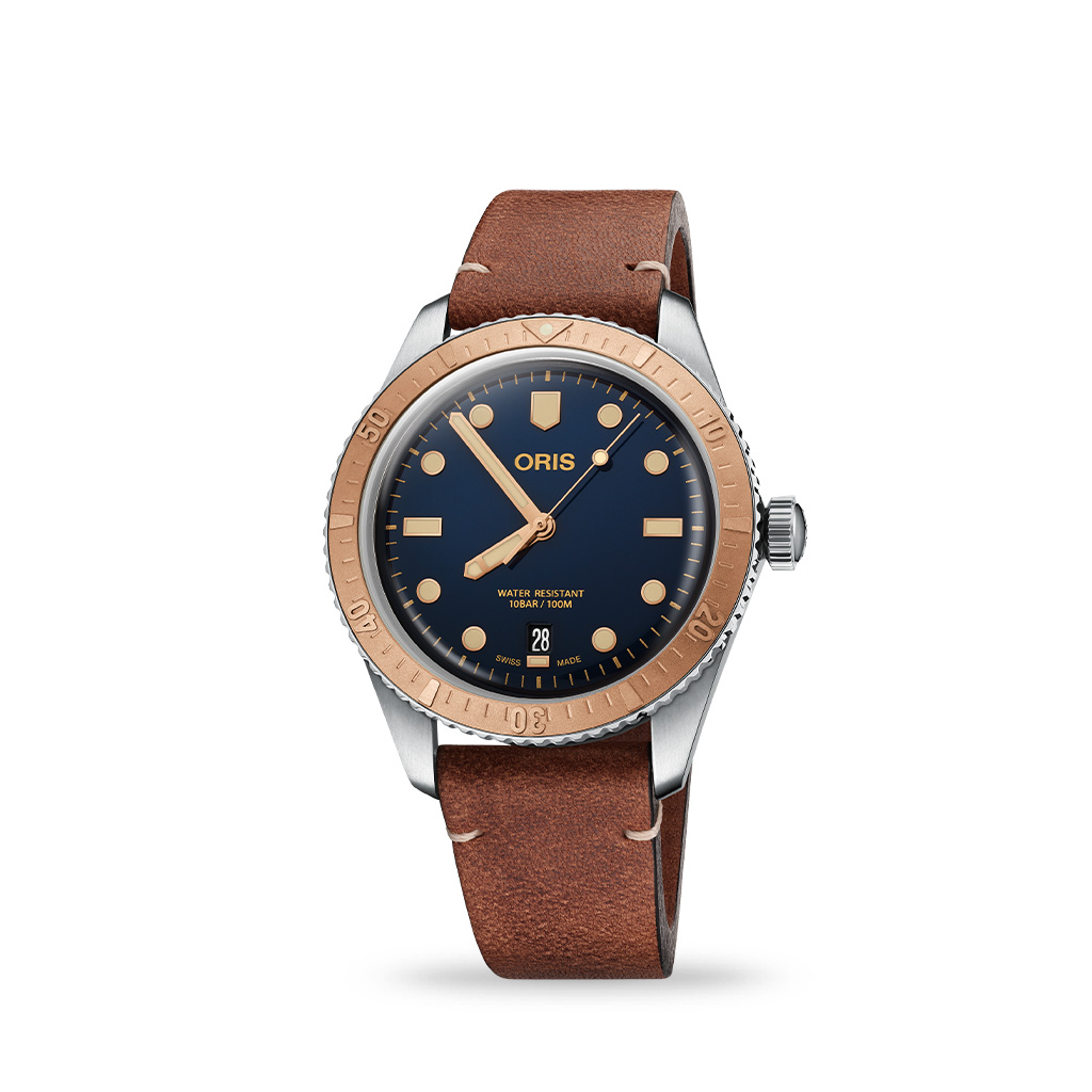 ORIS Divers Sixty Five Blue Dial 40mm Leather Strap