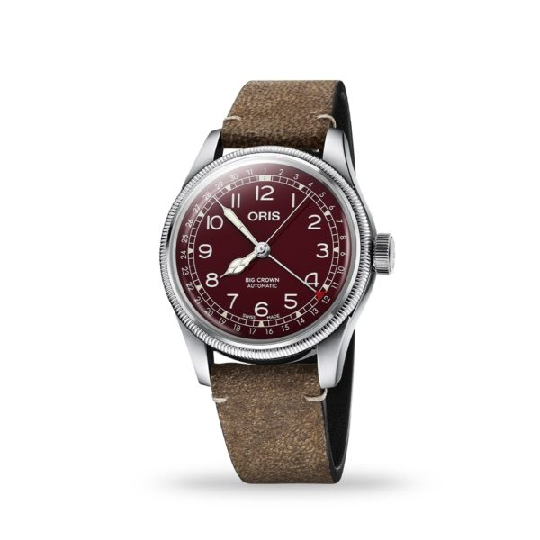 Oris Big Crown Pointer 40mm Red Dial Brown Leather Strap