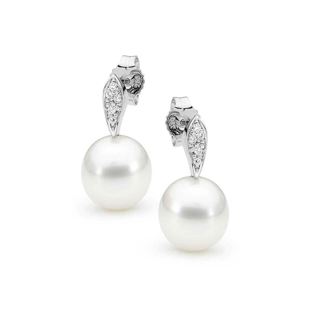 Allure South Sea Pearl & Diamond Leaf Earrings