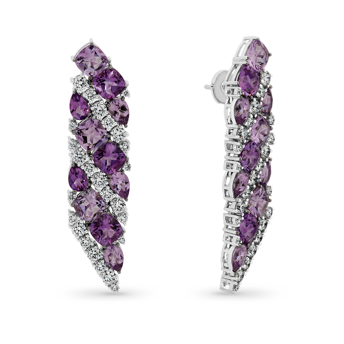 Amethyst & Diamond Fancy Drop Earrings