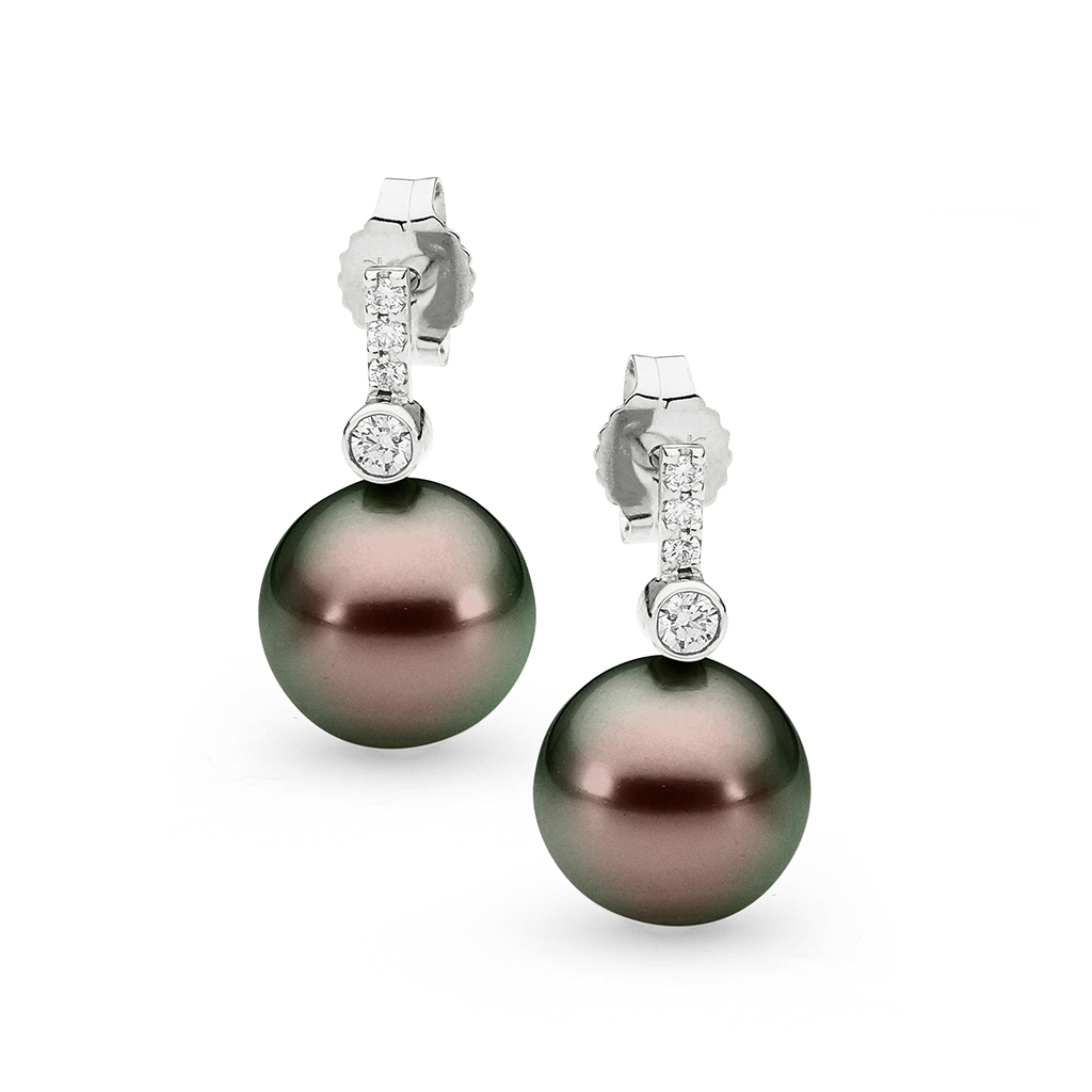 Allure Tahitian Pearl & Diamond Bar with Bezel Set Earrings