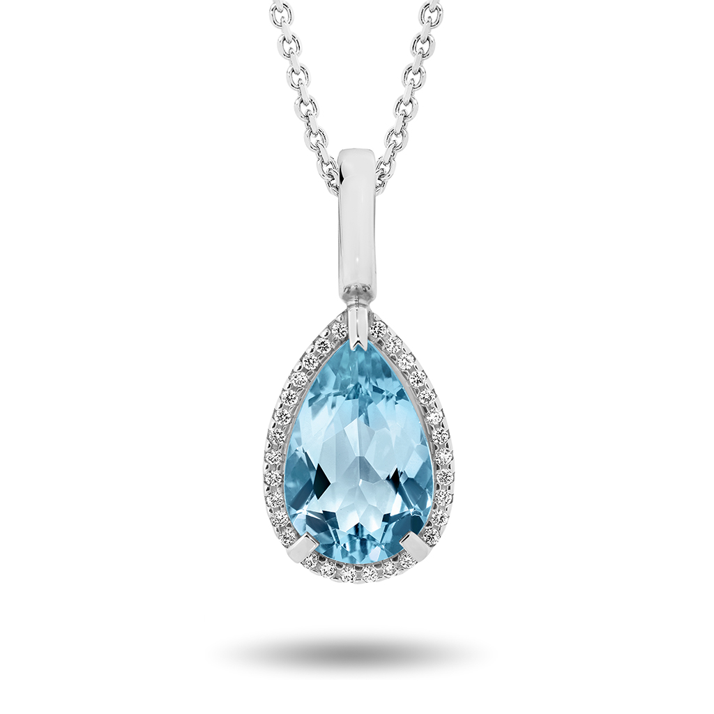 Blue Topaz & Diamond Pear Halo Pendant