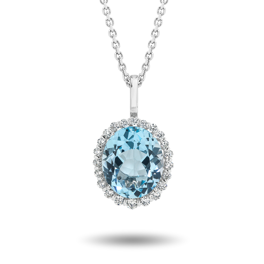Blue Topaz & Diamond Oval Halo Pendant
