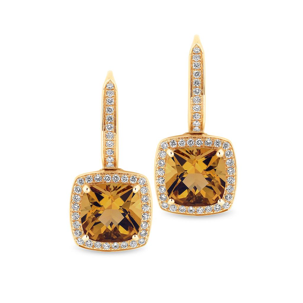 Tycoon Cushion Citrine & Diamond Halo Drop Earrings