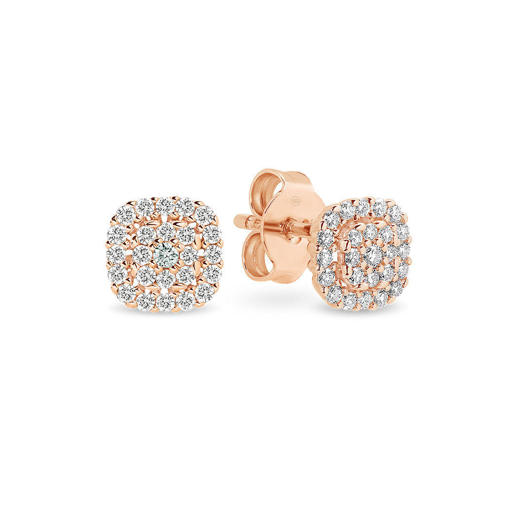 Cushion Cluster Diamond Stud Earrings