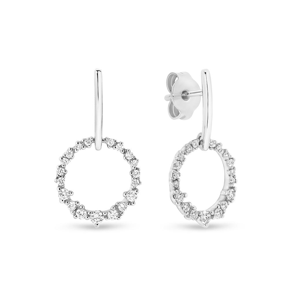 Diamond Circle Drop Earrings