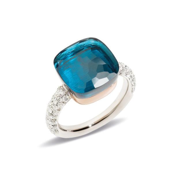 Pomellato Nudo Maxi London Blue Topaz & Diamond ring A.B401/B9O6TL