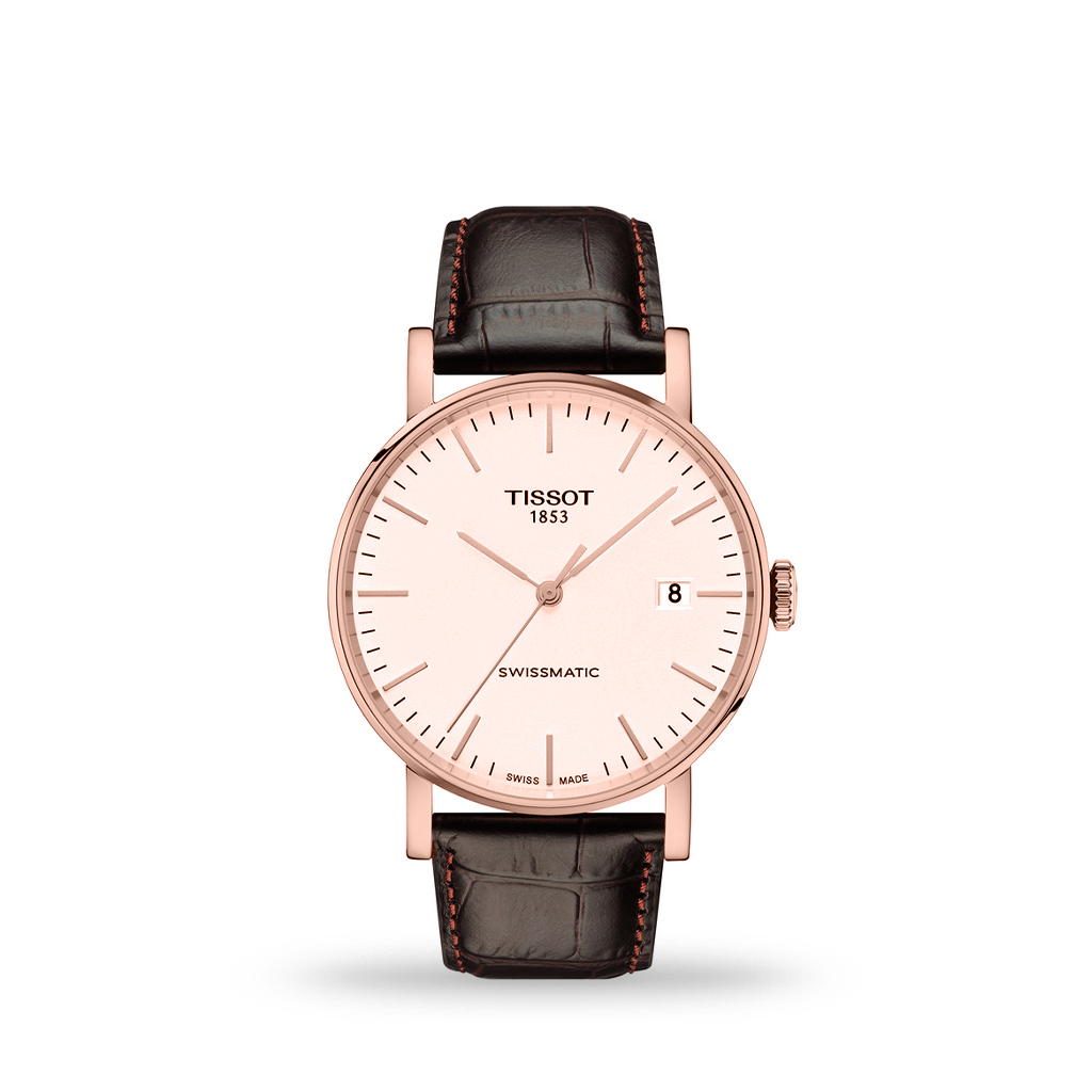 Tissot T-Classic Everytime Swissmatic Rose Gold PVD 40mm Leather Strap