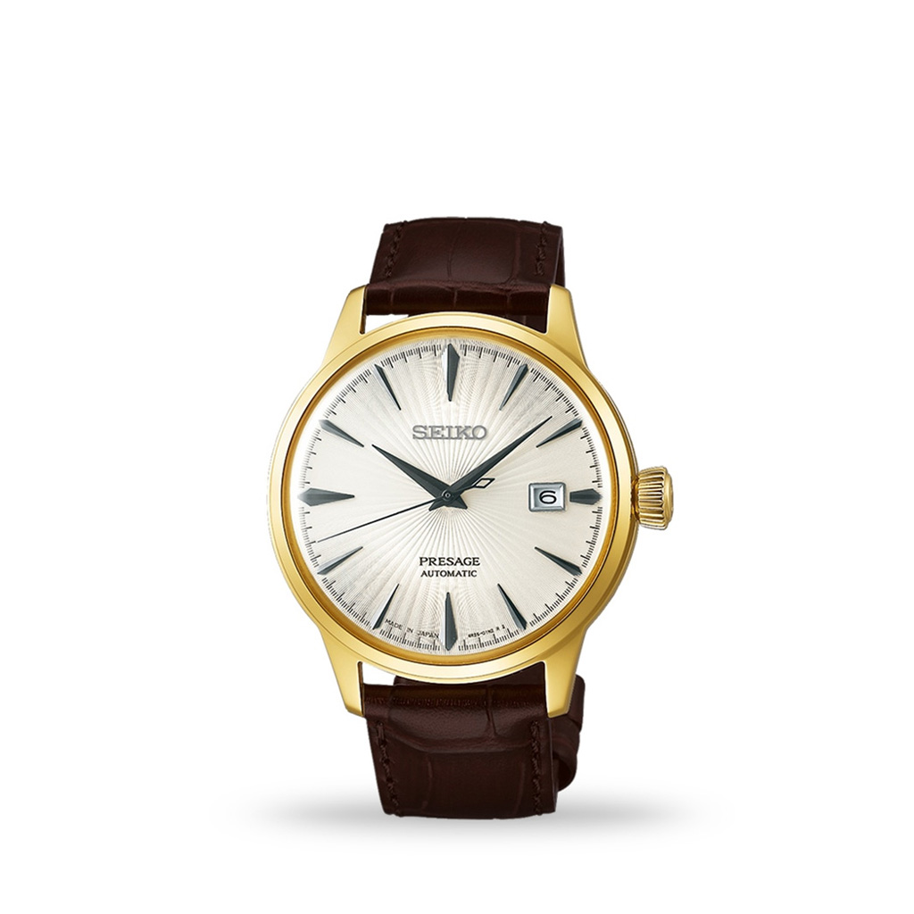 Seiko Presage Champagne-Gold Automatic 41mm White Dial Leather Strap
