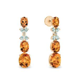 Citrine & Diamond Cocktail Drop Earrings 18k Yellow Gold - TE2422-5