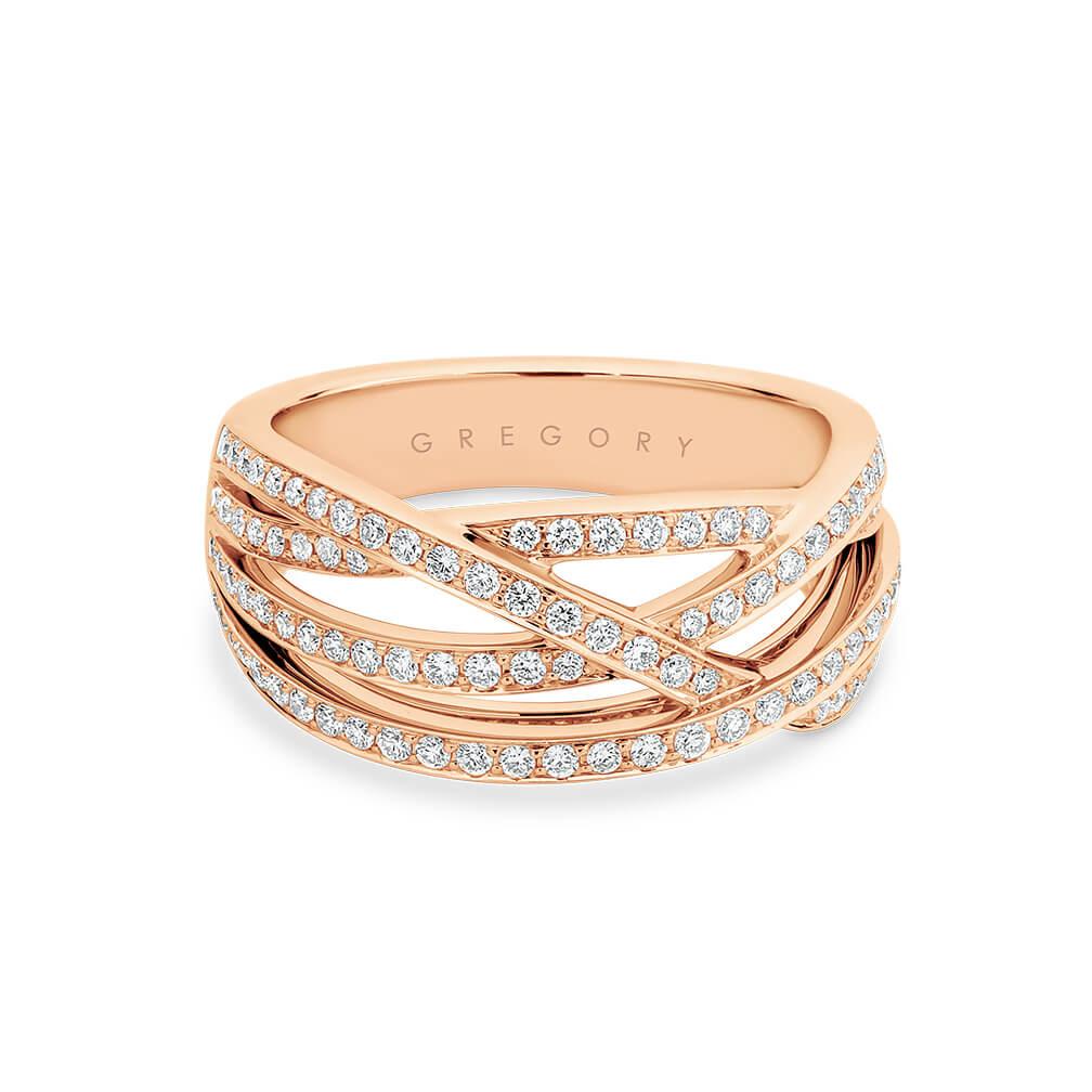 Fancy Crossover Diamond Dress Ring in Rose Gold