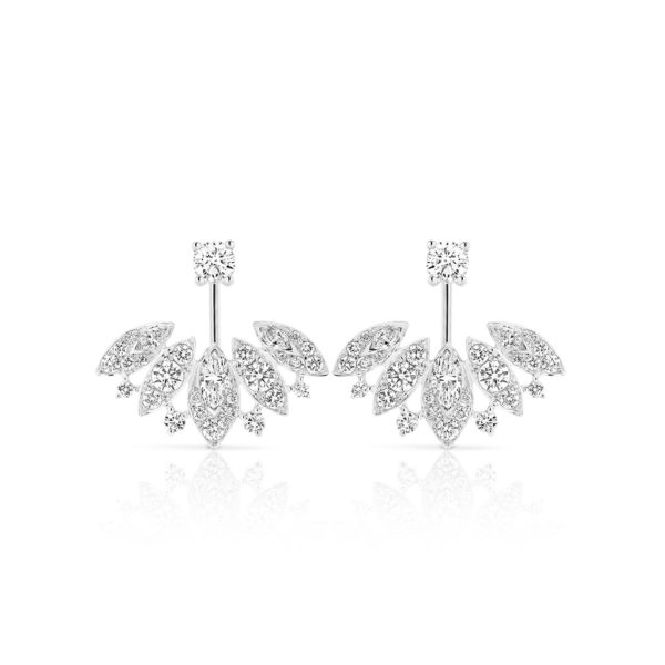 Marquise and Round Pave Diamond Jacket Earrings te2411