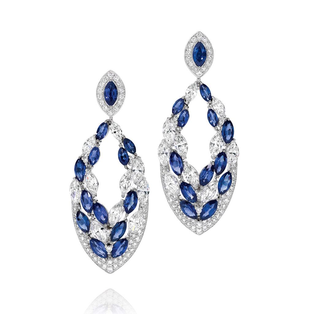 Blue Sapphire and Diamond Drop Earrings
