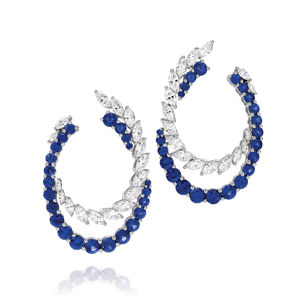 Blue Sapphire and Diamond Cocktail Hoop Earrings