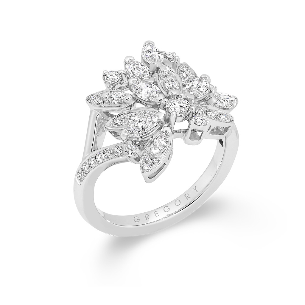 Marquise and Round Pave Diamond Enchanted Ring