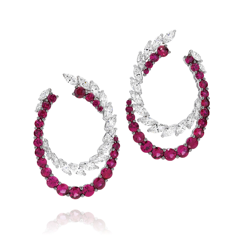Ruby and Diamond Cocktail Hoop Earrings