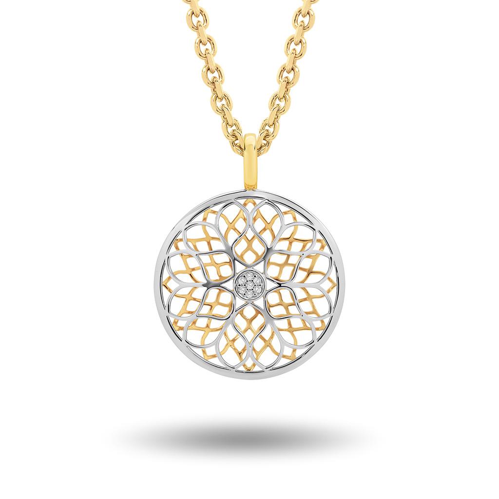 Flower Pattern Diamond Pendant