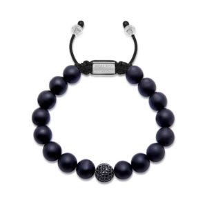 Nialaya Men's Beaded Bracelet with Matte Onyx and Black CZ | MCZ10_004