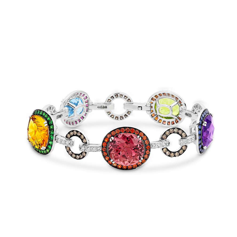 Multi-Coloured Gemstone & Diamond Cocktail Bracelet