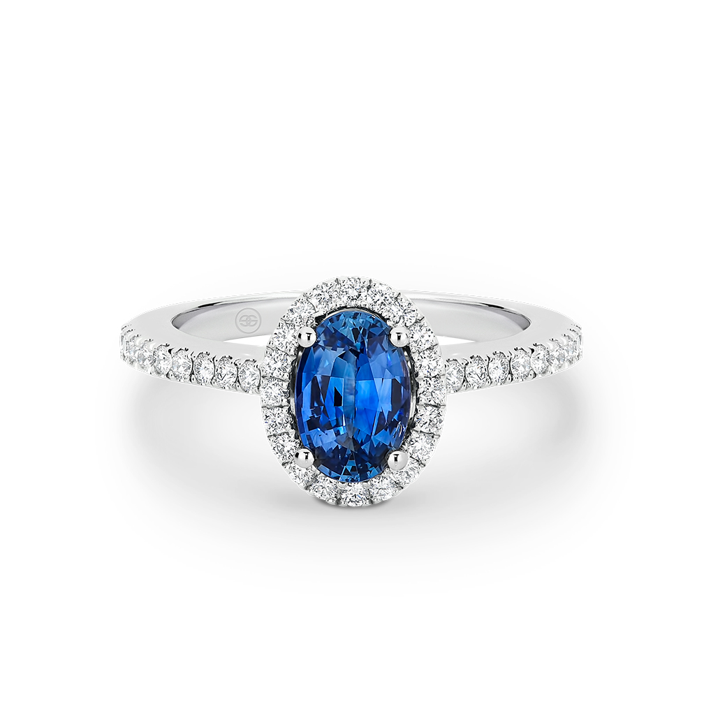 Sapphire & Diamond Halo Engagement Ring