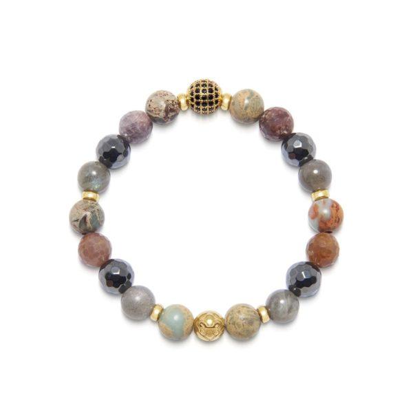 Nialaya Women's Wristband with Hematite, Opal, Labradorite and Ruby | Model# WCHCO_205