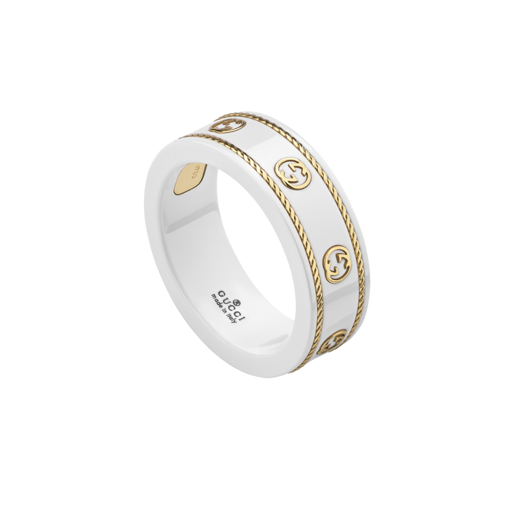 Gucci Icon Ring with Yellow Gold Interlocking G