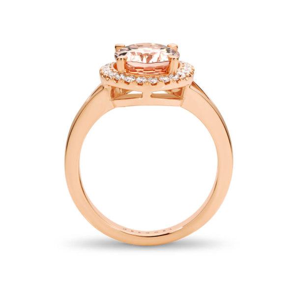 Morganite and Diamond Precious Halo Engagement Ring
