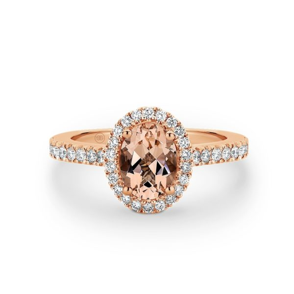 Oval Morganite and Diamond Halo Ring. Model# A2367