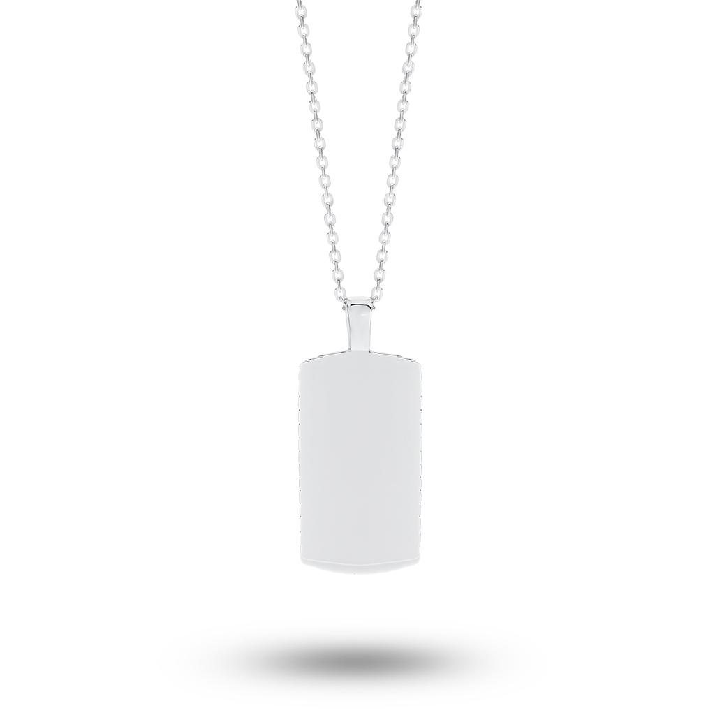 Sterling Silver Chevron Edge Tag Necklace