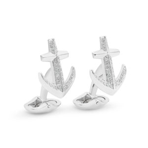 Mr Gregory Sterling Silver Cubic Zirconia Anchor Cuff Links | MRG-CL19-0