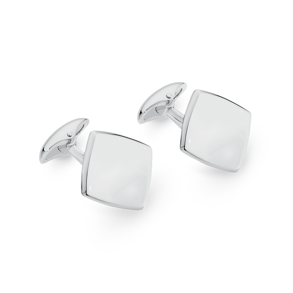 Sterling Silver Square Disc Cuff Links
