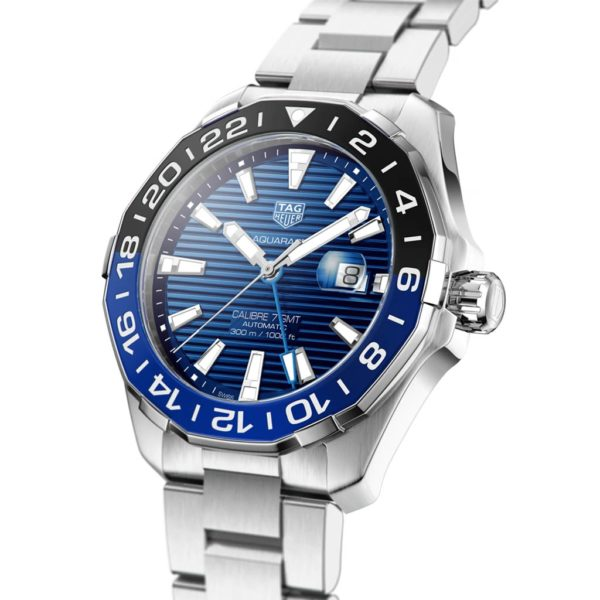 TAG HEUER Aquaracer Automatic 43mm, stainless steel case and bracelet, rotating blue bezel way201t-ba0927