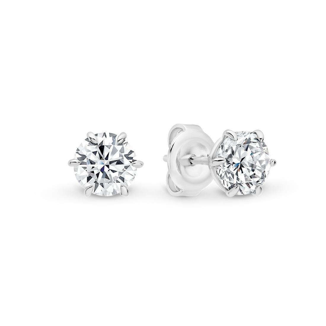 Chloe Cubic Zirconia Six Claw Stud Earrings- Medium