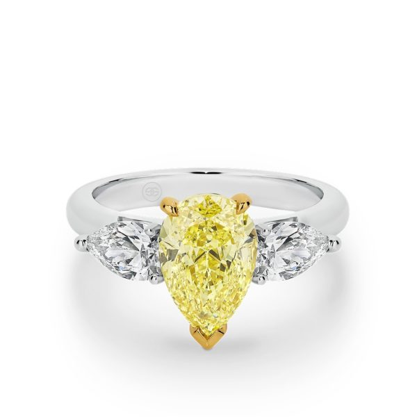 FANCY YELLOW PEAR TRILOGY DIAMOND RING WITH WIDE BAND