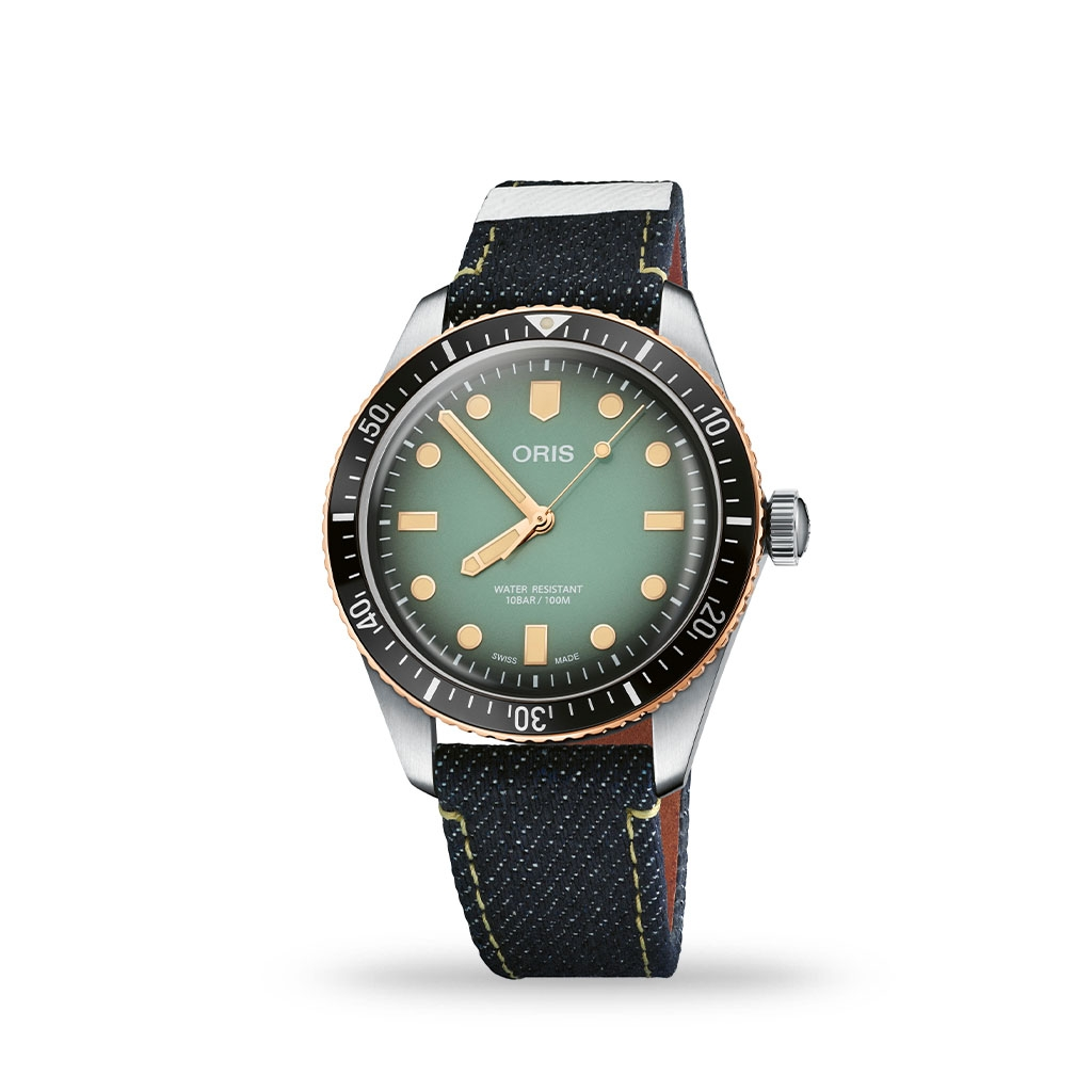 ORIS x Momotaro Green Dial 40mm Denim Strap