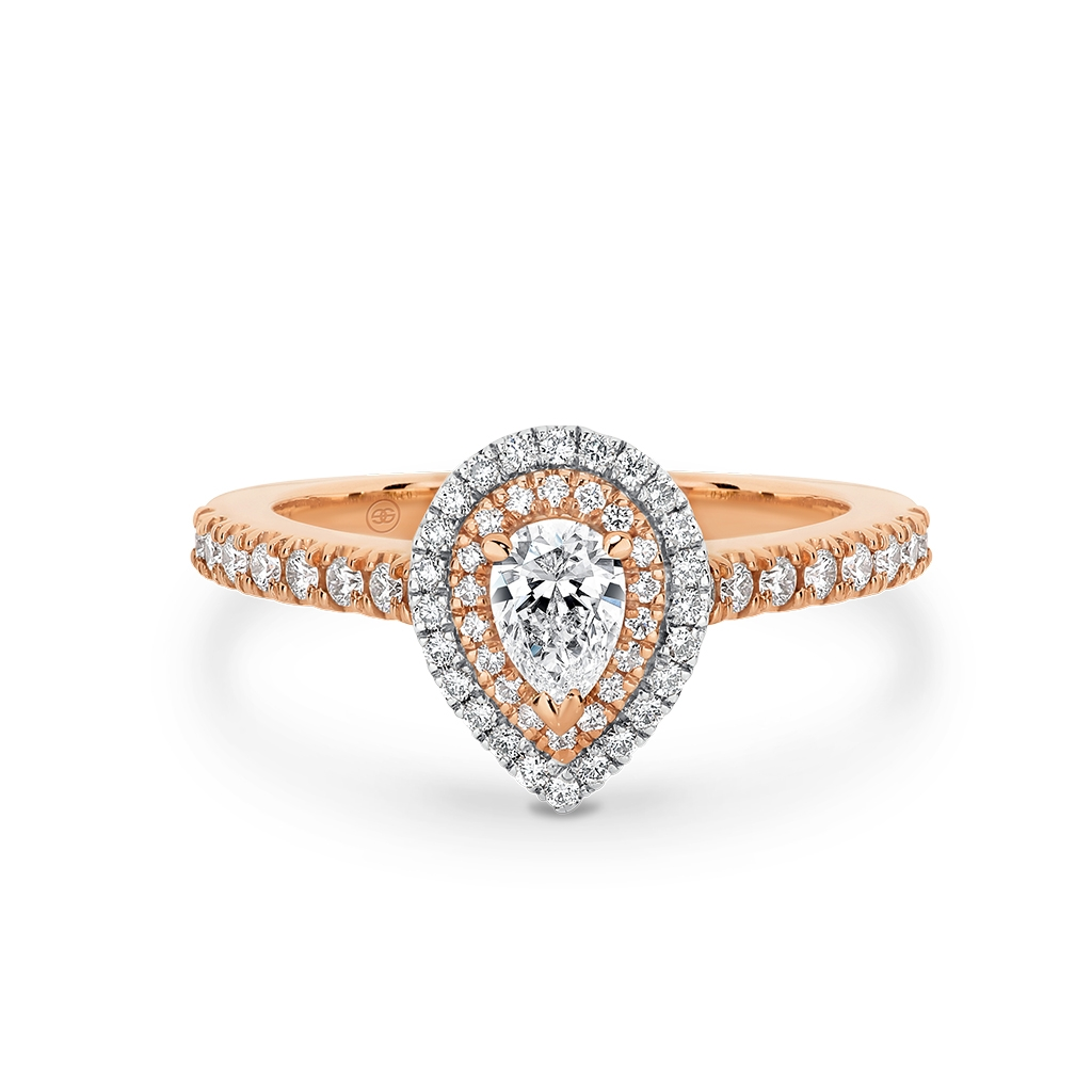 Pear Shape Double Halo Diamond Engagement Ring