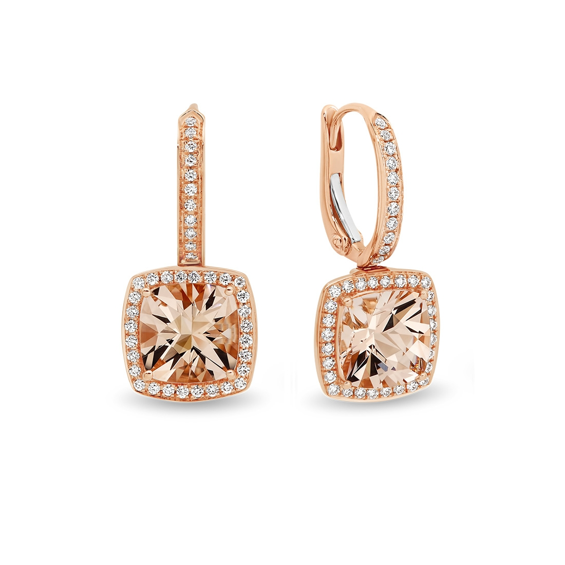 Tycoon Cushion Morganite & Diamond Halo Drop Earrings