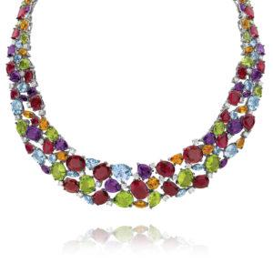 Multi-coloured Gemstone & Diamond Cocktail Collier | TN0534