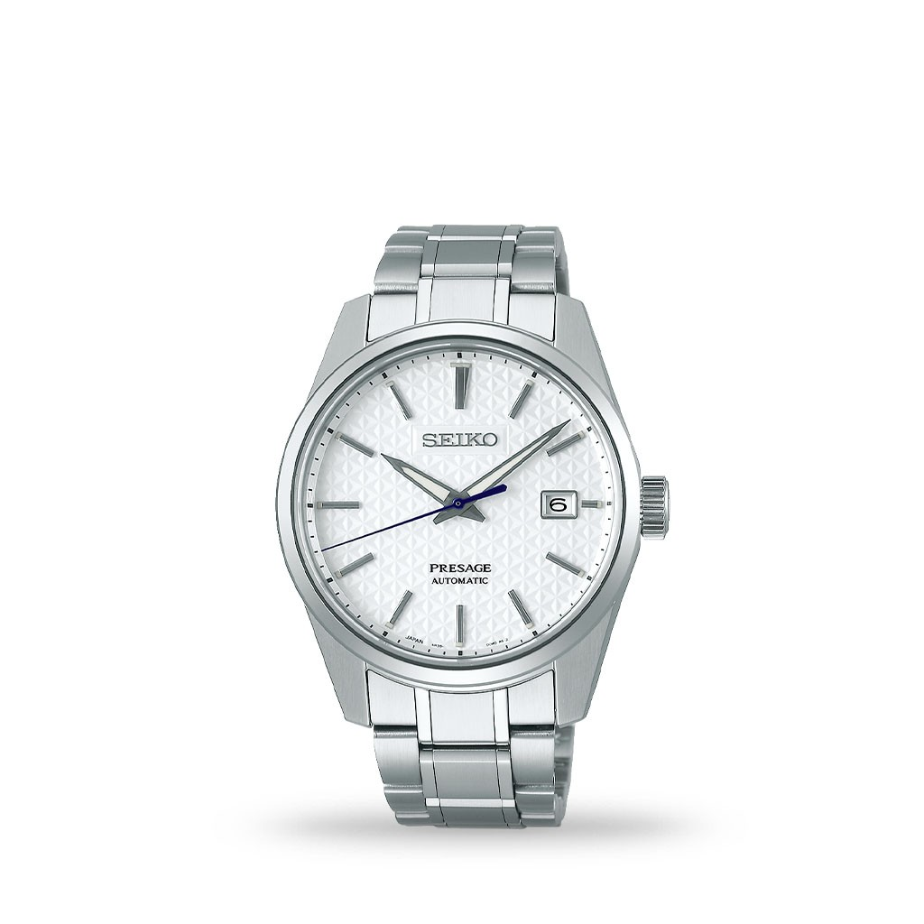 Seiko Presage Automatic 39mm White Textured Dial Bracelet