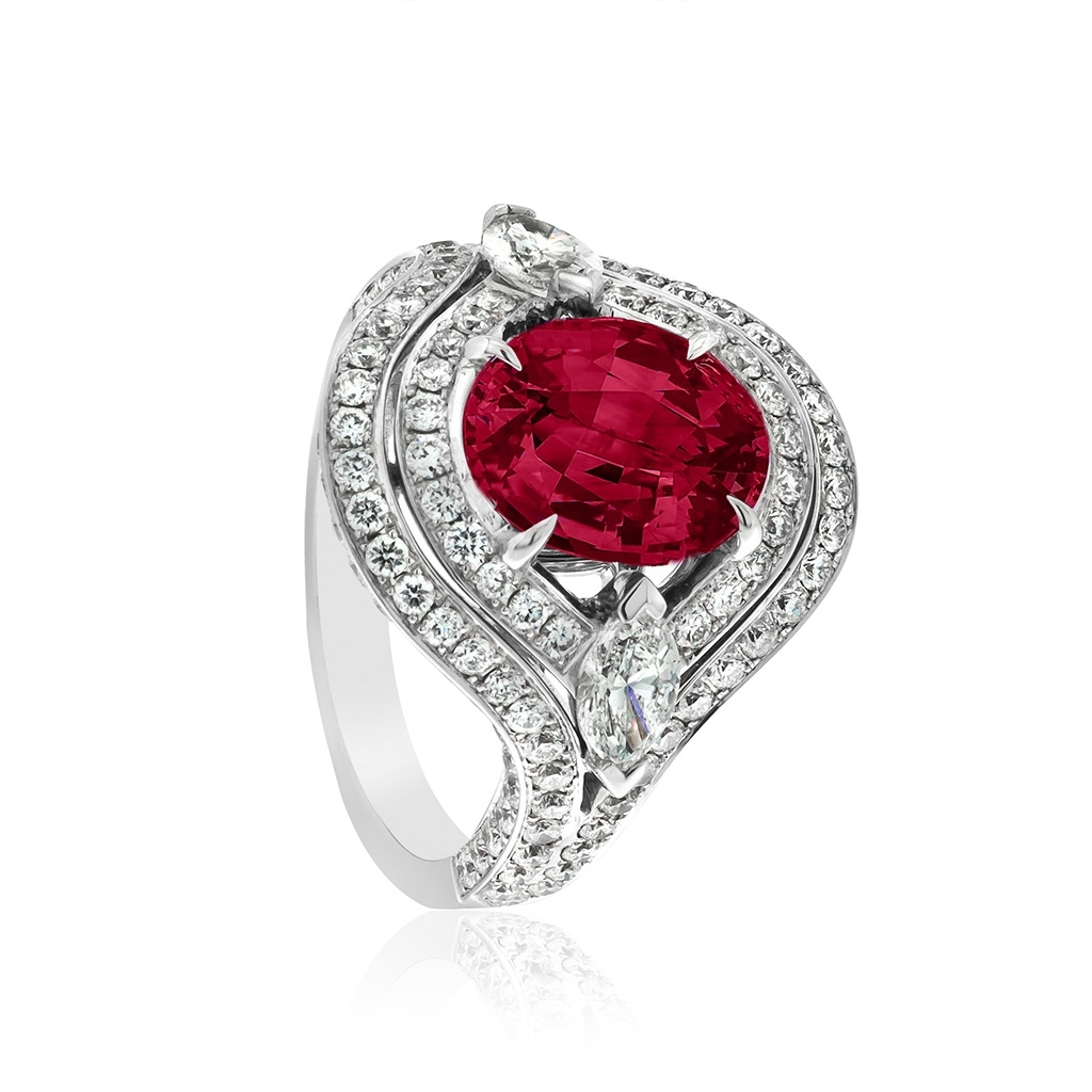 Ruby & Diamond Double Halo Cocktail Ring