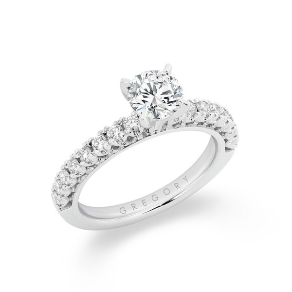 Round Brilliant Diamond Band Engagement Ring. Model: A2341