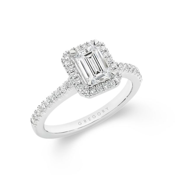 Emerald Cut Halo Diamond Engagement Ring - Side view. Model: A2414