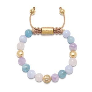 Women's Beaded Bracelet with Aquamarine, Blue Lace Agate, Rose Quartz, and Amethyst Lavender WCZ8_031