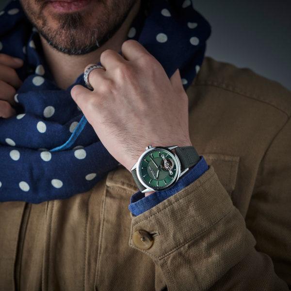 Freelancer Calibre RW1212 42mm stainless steel case, green bracelet 2780-stc-52001